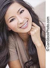 mulher, oriental, sorrindo, chinês, asiático, bonito