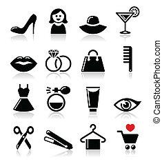mulher, ou, menina, moda, beleza, -