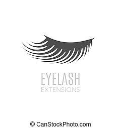 mulher, pálpebra, illustration., cílio, concept., simples, extensões, logotipo