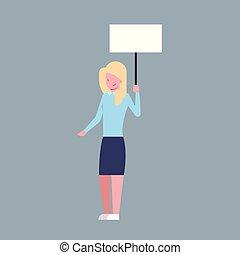 mulher, painél publicitário, escritório, negócio, personagem, trabalhador, executiva, branca, ter, vazio