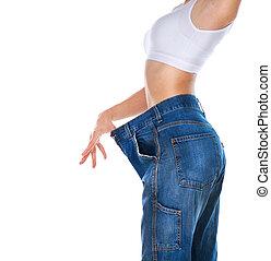 mulher, peso, corporal, adelgaçar, isolado, experiência., perda, branca