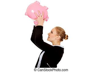 mulher, piggybank, agitação, jovem, negócio