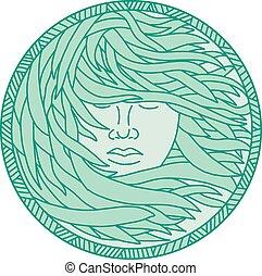 mulher, polynesian, mono, cabelo, kelp, mar, círculo, linha