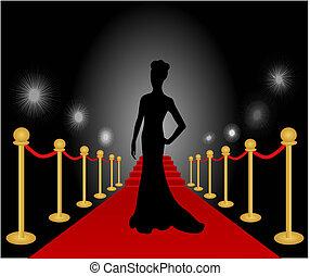 mulher, posar, vetorial, tapete vermelho