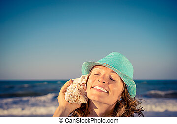 mulher, praia, feliz