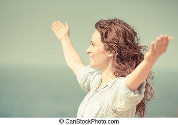 mulher, praia, relaxante, feliz