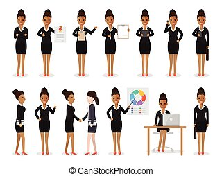 mulher, pretas, caráteres negócio