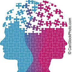 mulher, quebra-cabeça, mente, pensamento, caras, problema, homem