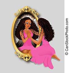 mulher, reflexão, cor-de-rosa