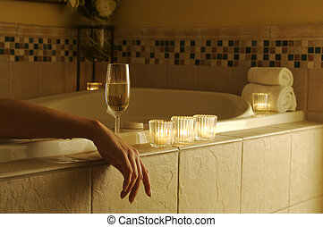 mulher, relaxado, banho