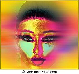 mulher, rosto, borrão, abstratos