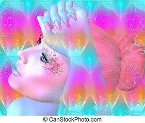 mulher, rosto, cor-de-rosa, abstratos