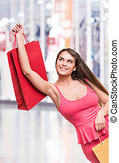 mulher, sacolas, shopping, segurando