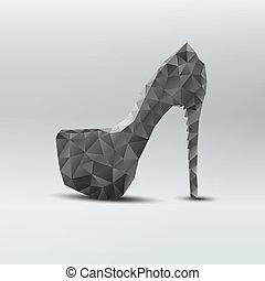 mulher, sapatos, abstratos, alto, pretas, calcanhares