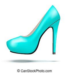 mulher, sapatos, modernos, luminoso, alto, azure, bomba, calcanhares