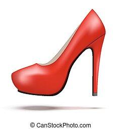 mulher, sapatos, modernos, luminoso, alto, bomba, calcanhares, vermelho