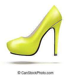 mulher, sapatos, modernos, luminoso, alto, bomba, verde, calcanhares