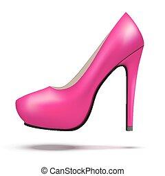 mulher, sapatos, roxo, modernos, luminoso, alto, bomba, calcanhares