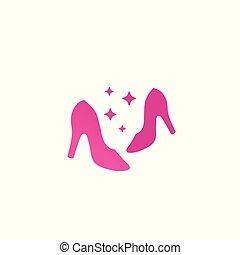 mulher, sapatos, vetorial, moda