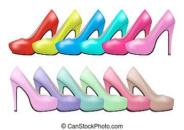 mulher, sapatos, vindima, modernos, alto, luminoso, fundo, calcanhares