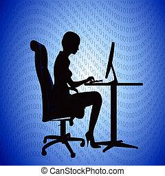mulher, secretária, computador, impressões, silueta