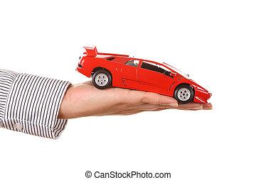 mulher segura, car, isolado, -, esportes, vermelho, mão, branca