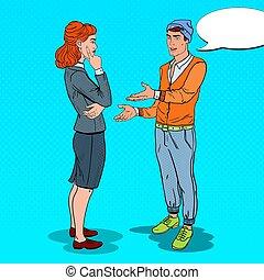 mulher, seu, arte, negócio, escritório., idéia, estouro, jovem, expaining, vetorial, ilustração, homem novo