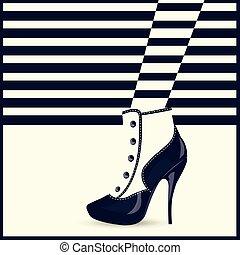 mulher, shoes., moda alta, calcanhares, pernas