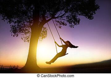 mulher, silueta, jovem, pôr do sol, fundo, balanço, feliz