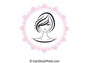 mulher, silueta, logotipo, bonito, rosto
