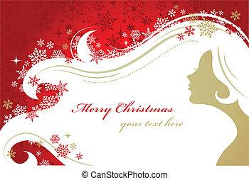 mulher, silueta, natal, fundo, vermelho