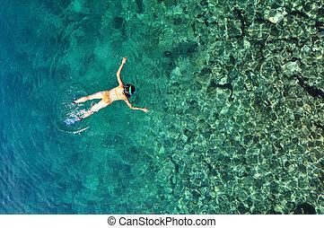 mulher, snorkeling, tropicais, excitado, mar