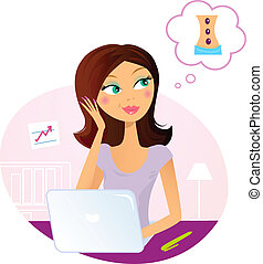 mulher, sonhar aproximadamente, escritório, massagem