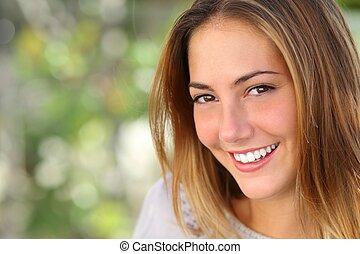 mulher, sorrizo, whiten, perfeitos, bonito