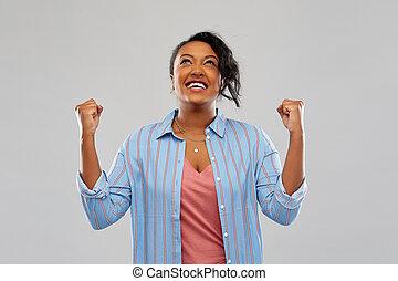 mulher, sucesso, celebrando, americano, africano, feliz