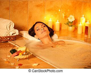 mulher, tomar, bath., bolha