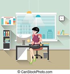 mulher, trabalhando, escritório negócio, dela, escrivaninha