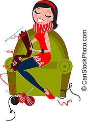 mulher, tricotando, isolado, knitwear, feito, mão, bonito, branca