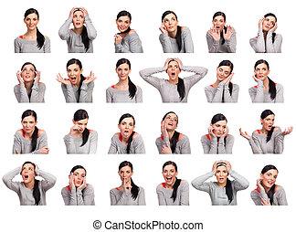mulher, vários, jovem, isolado, mostrando, expressões