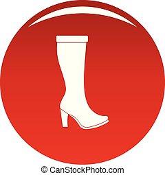 mulher, vetorial, botas, vermelho, ícone