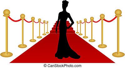 mulher, vetorial, silueta, tapete vermelho