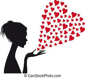 mulher, vetorial, vermelho, corações