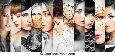 mulheres bonitas, caras, colagem