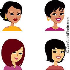 mulheres, caricatura, avatar, multi-étnico