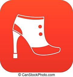 mulheres, digital, botas, vermelho, ícone