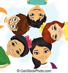 multi étnico, formando, círculo, grupo, crianças