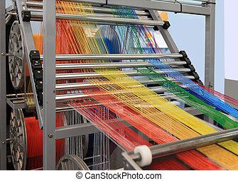multi-colorido, máquina, têxtil, fios