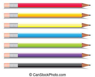 multi-coloured, sete, jogo, lápis, colours., vetorial, ilustração