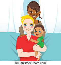multi, família, étnico