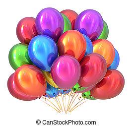 multicolored., decoração, partido aniversário, balões, balloon, grupo